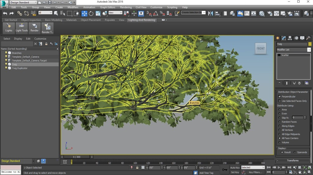 A tree grown with The Grove, exported to 3ds Max. Twigs are duplicated with the Scatter modifier.