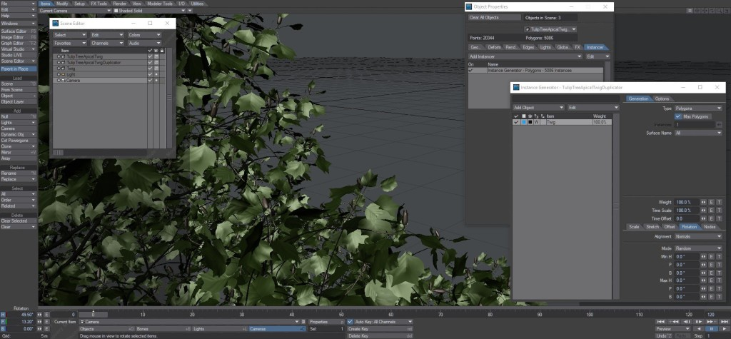 A tree grown with The Grove, exported to LightWave. Twigs are duplicated using an instance generator.